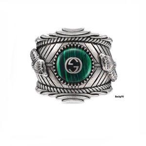 New Authentic Gucci GG Malachite Snake Ring Sz 10